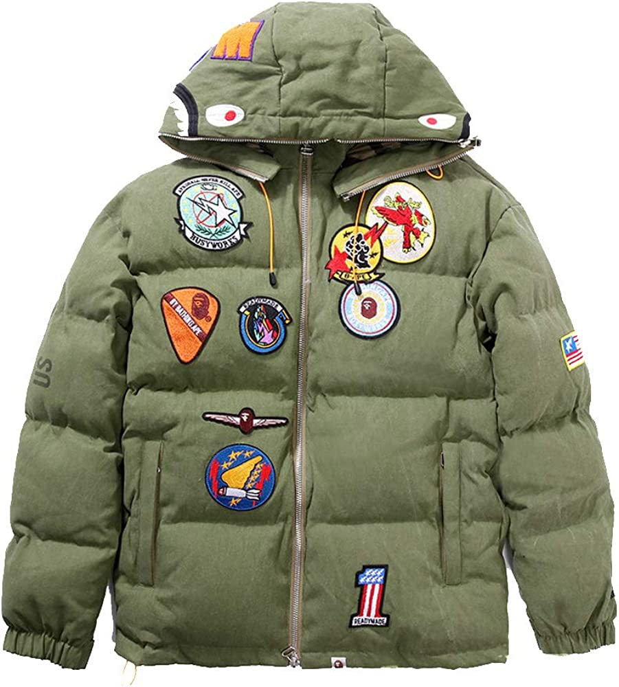 Wordbuy New Bape A Bathing Ape Hoodie Jacket Shark Head Embroidery Thicken Cotton Coat