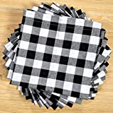 Linen Clubs Pack Of 12 Black -white 100% Cotton Yarn Dyed Gingham Check Dinner Napkins 18x18Inch,Clambake Beach party Nautical Dinner Napkins as well offered by
