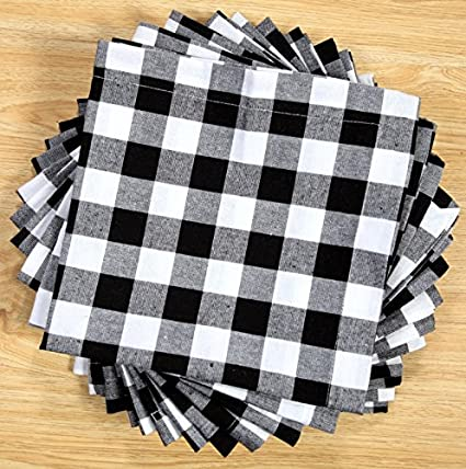 Pack Of 12 Black  White 100% Cotton Yarn Dyed Gingham Check Dinner Napkins  18x18Inch