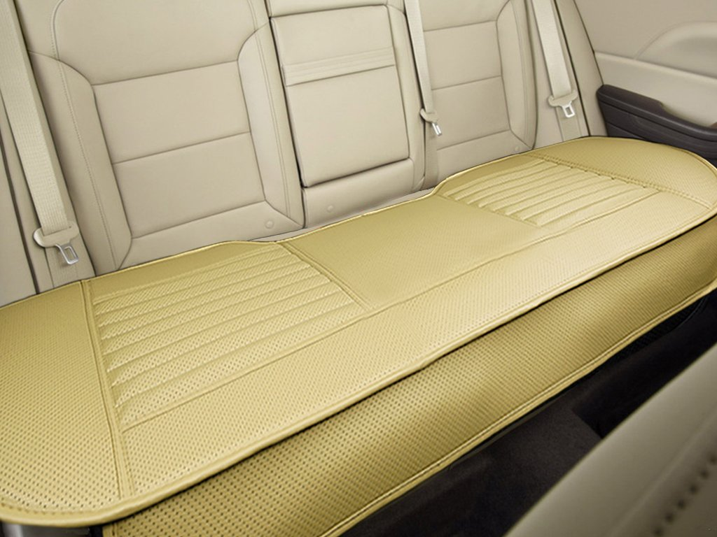 Nonslip Rear Car Seat Cover Breathable Cushion Pad Mat for Vehicle Supplies with PU Leather (Beige - Back Row 58.3'' x 18.9'') by Big Ant