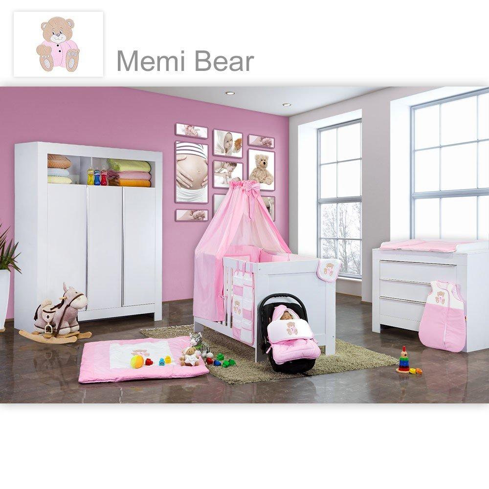 Babyzimmer Felix in weiss 21 tlg. mit 3 türigem Kl + Memi Bear in Rosa