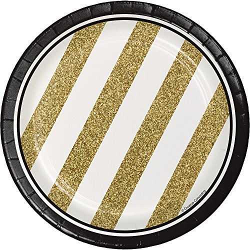 Creative Converting 317547 8-Count Sturdy Style 7-Inch Paper Dessert Plates, Black and Gold,