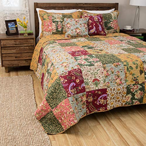 MISC 5pc Pink Purple Yellow Blue Green White King Quilt Set, Cotton, Floral Patchwork Themed Bedding Rose Paisley Cottage French Country Rustic Pretty Flower Garden Vintage