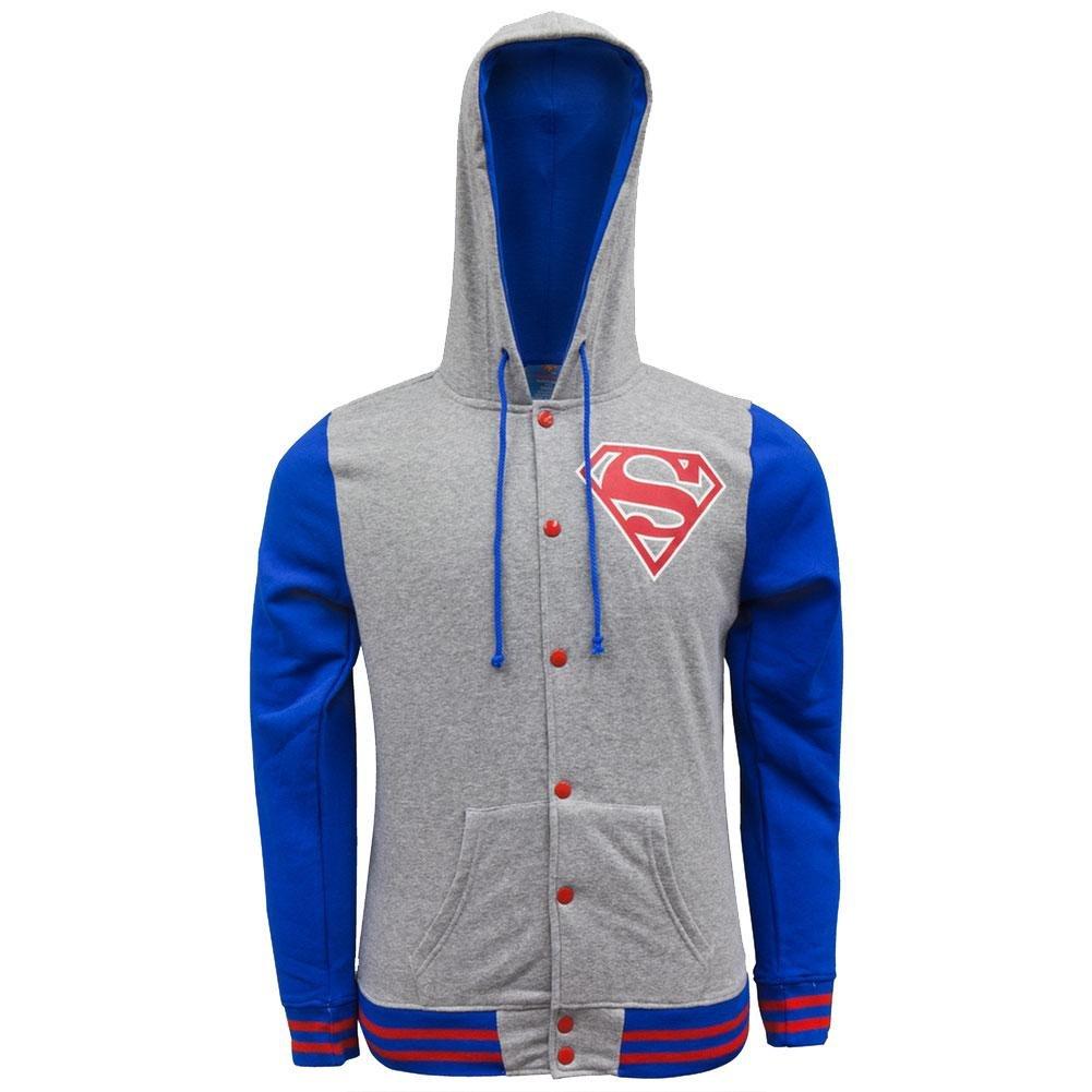 Letterman Hoodie Sweatshirt Mens Grey Small Old Glory Superman