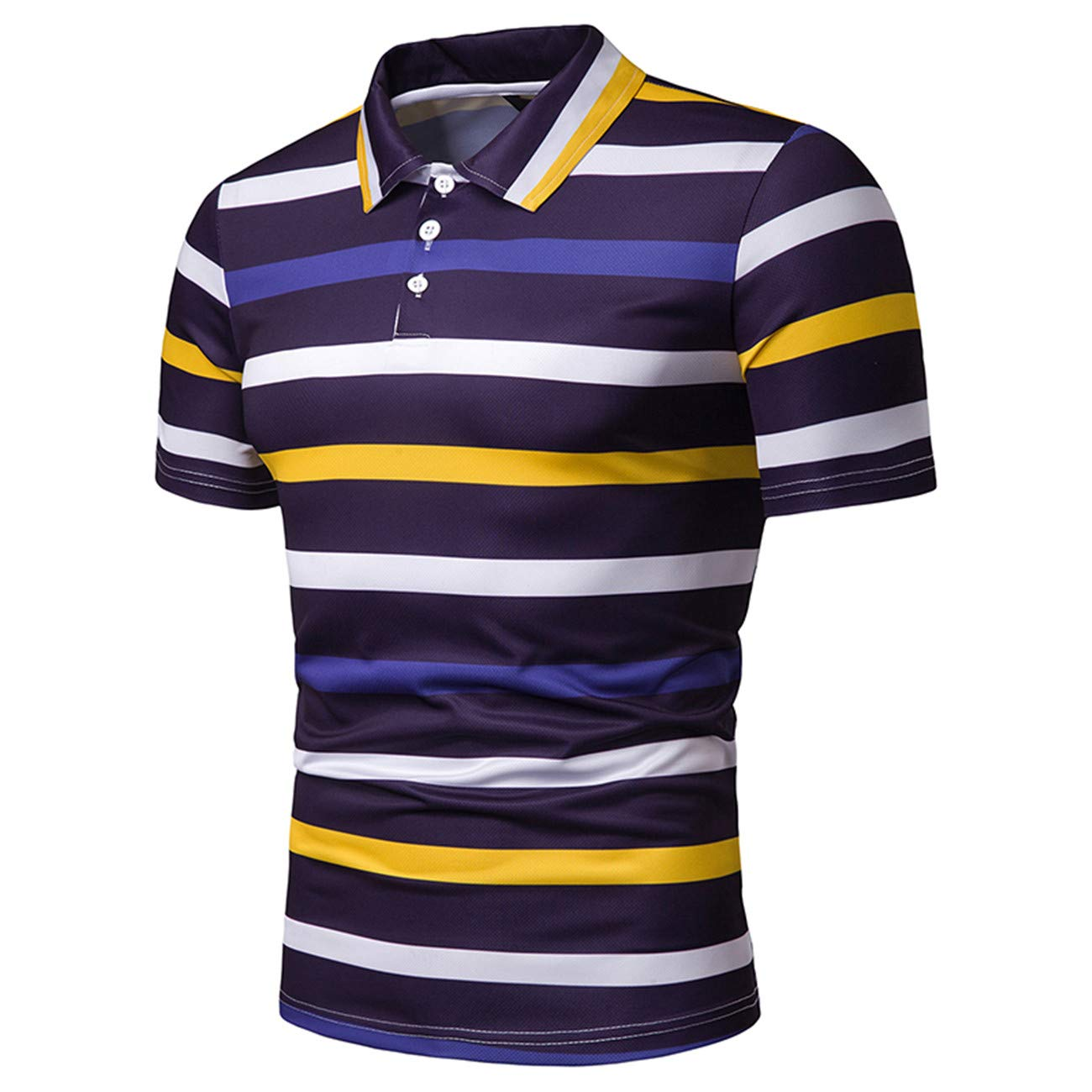 Mens Stripe Pattern Contrast Color Short Sleeve Leisure and Fashion Polo Shirt