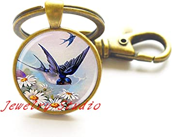 Blue Space Cabochon Keychain  25mm Glass Cabochon Keychain  Zipper Pull  Co-Worker Gift  Christmas Gift  HandbagBackpack Decor