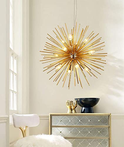30 Golden Sputnik Chandelier Post-Modern Ceiling Light Lamp with E14 Bulbs Pendant Lighting Fixture for Living Room Bedroom Dining Room 30 Inch