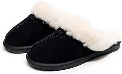 UGG Slippers-Australia Premium Sheepskin, Anti-Slip Fluffy Fur Indoor/Outdoor Slippers, Super Warm and Comfort