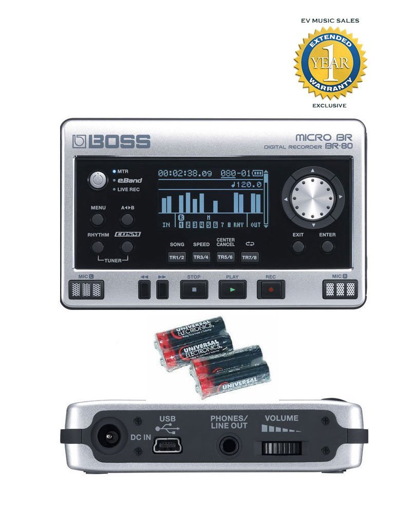 Boss Micro BR BR-80 8-Track Digital Recorder and 4 Free Universal Electronics AA Batteries Bundle with 1 Year Free Extended Warranty