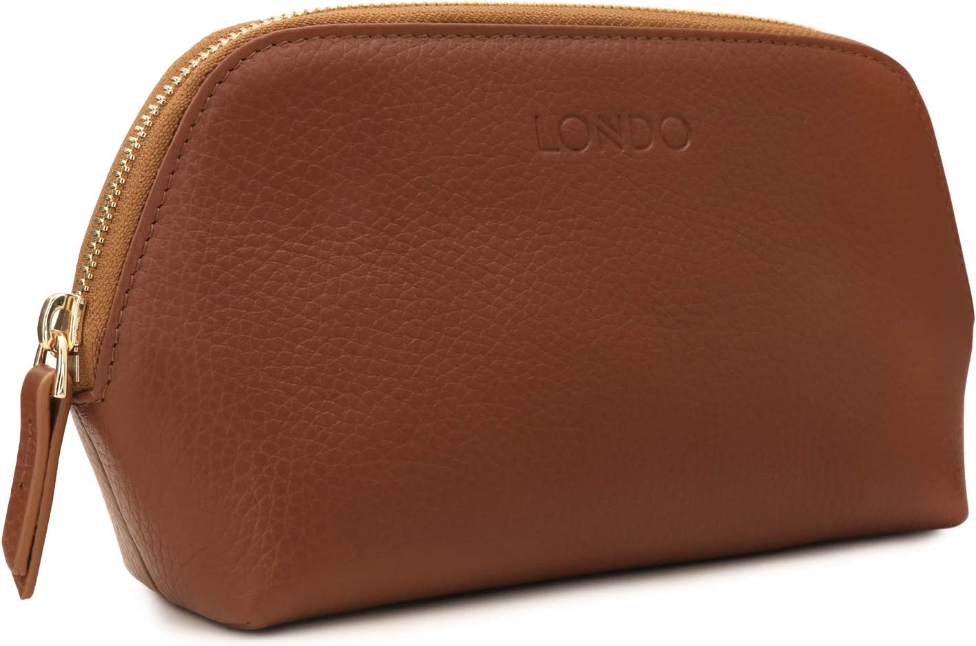 Londo Genuine Leather Makeup Bag Cosmetic Pouch Travel Organizer Toiletry Clutch (Light Brown)