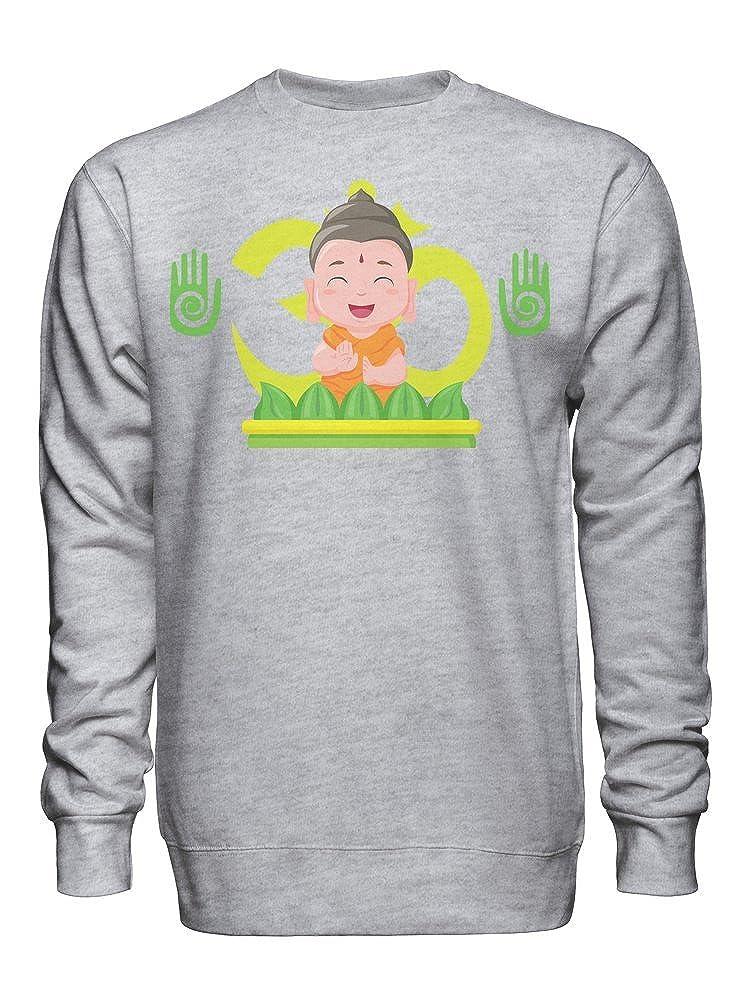 graphke Little Happy Buddha Unisex Crew Neck Sweatshirt