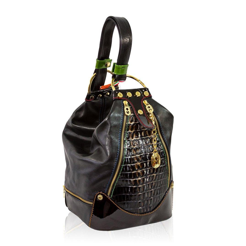 Marino Orlandi Italian Grey Croc Embossed Leather Oversized Sling Bucket Bag