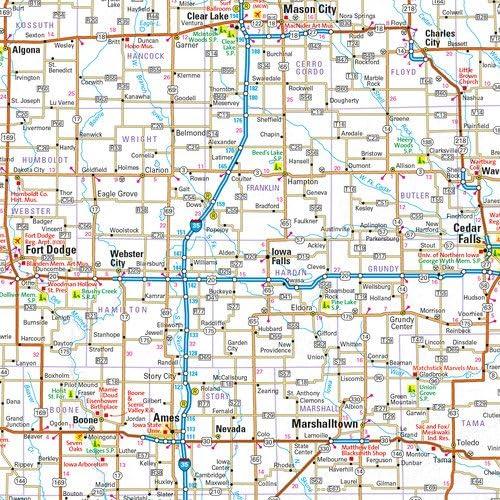 Iowa State Wall Map 20.75 x 18.5 Matte Plastic