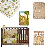 Fun Loving Style 7 PIECE Baby Crib Bedding Set LION KING's Simba in Tropical Landscape Soft Comforter, Comfy crib sheet, Cozy dust ruffle, Gentle Color Infant Blanket Plus a BONUS Simba Wall Decor