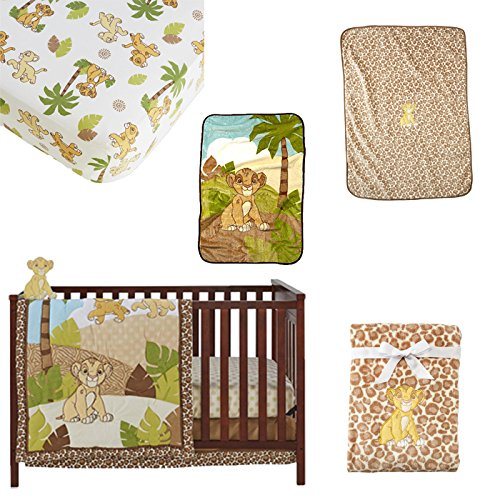 Fun Loving Style 7 PIECE Baby Crib Bedding Set LION KING's Simba in Tropical Landscape Soft Comforter, Comfy crib sheet, Cozy dust ruffle, Gentle Color Infant Blanket Plus a BONUS Simba Wall Decor by db