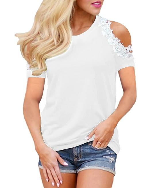 100057f54a StyleDome Maglia Donna Pizzo Maglie Eleganti Maglietta Manica Corta  Girocollo Casual T-Shirt Tops Bello: Amazon.it: Abbigliamento