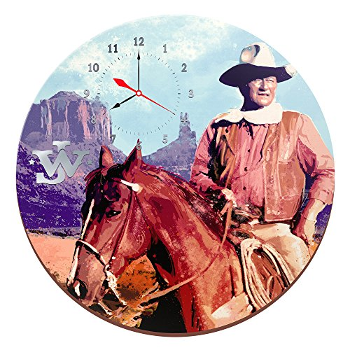 Vandor John Wayne 13.5 Inch Cordless Wood Wall Clock, 13.5 x 1.5 x 13.5 Inches, Multicolored 15989