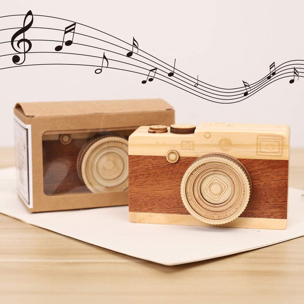 FUTUREPLUSX Wooden Music Box, Retro Wooden Camera Music Box for Birthday/Christmas/Valentine's Day.