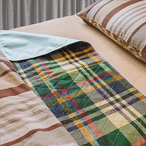 Pack of 6 Plaid Printed Heavy Duty Reusable Washable Incontinence Mattress Bedpads Protection Pads