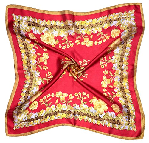 Red Yellow Flowers Printed Small Square Fine Silk Scarf by Bees Knees Fashion (Image #7)