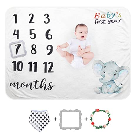 Monthly Blanket Photography Backdrop 60 x 40 Paishanas Baby Monthly Milestone Blanket Floral Super Soft Fluffy Fleece Photo Props for Newborn Baby Girl