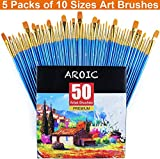 AROIC Paintbrushes Set, 5 Packs / 50 pcs Nylon Hair