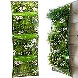 Esschert Design 2 Pack Triple Pocket Vertical Hanging Planters Wall Pots for Herb plants Vertical Gardening System Plant Rack