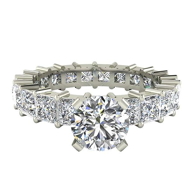Redondo centro princesa Eternity Diamond anillos de boda oro ...