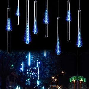 OMGAI Waterproof Meteor Shower Rain Lights 30cm 8 Tubes Drop Icicle Snow Falling Raindrop Cascading Lights for Wedding Party Christmas Shine Blue
