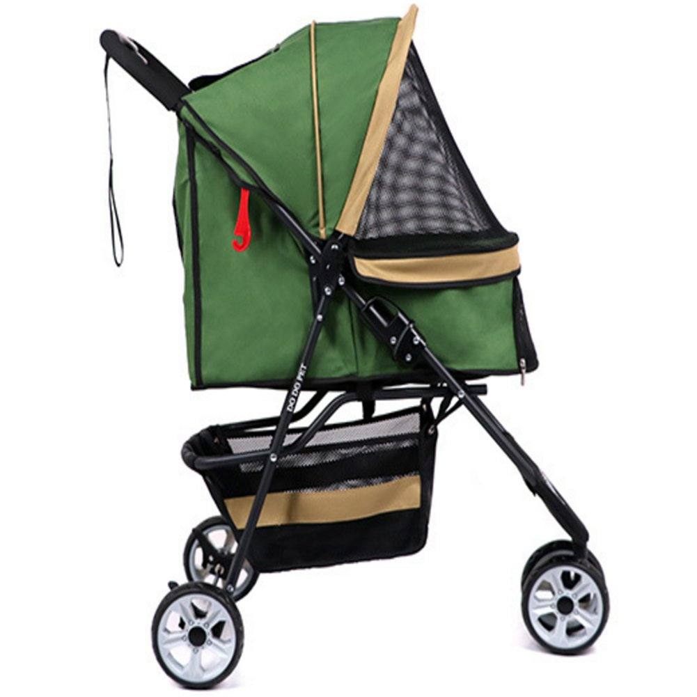 Green LQUIDE Foldable Pet Stroller,3Wheels Dog Puppy Cat Pet Travel Stroller,Oxford Cloth Breathable And Waterproof Not More Than 15Kg,bluee