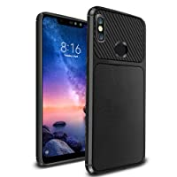 Ferilinso Xiaomi Redmi Note 6 Pro Case, Flexible Rugged Armor Hybrid Defender Shockproof Protective Case Carbon Fiber Design Cover for Xiaomi Redmi Note 6 Pro (Black)