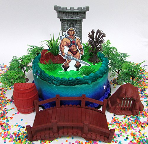 Masters Of The Universe HE MAN Themed Birthday Cake Topper Set Featuring He Man And Decorative Accessories