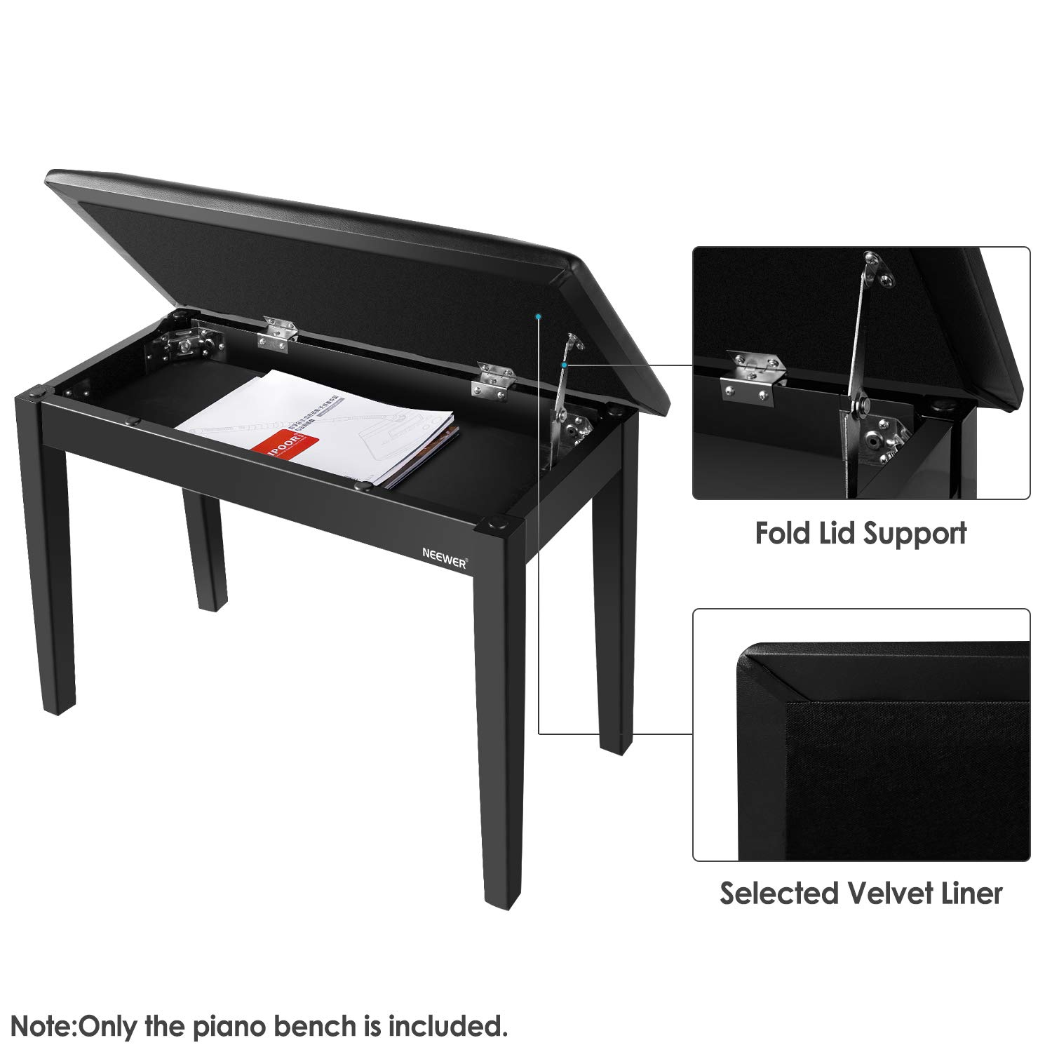 Neewer Wooden Duet Piano Bench with Padded Leather Cushion for Deluxe Comfort and Bulid-in Flip-Top Seat Extra Storage Compartment for Music Books and Other Accessories, Black by Neewer (Image #5)