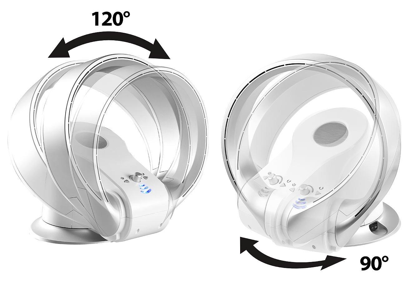 Rotorloser L/üfter Oszillation bis 1.100 W Sichler Haushaltsger/äte Rotorloser Ventilator: Rotorloser 360/°-Tischventilator /& Heizl/üfter