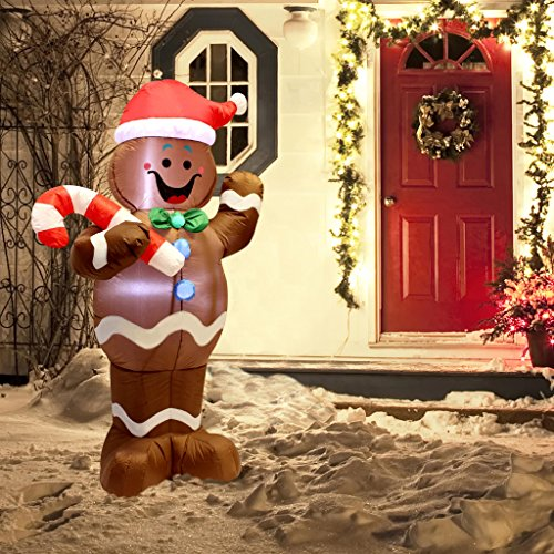 5ft Self-Inflatable Gingerbread Man with Candy Canes Perfect for Waving Blow Up Yard Decoration, Indoor Outdoor Yard Garden Christmas Decoration and Christmas Party Favor Decoration by Joiedomi by Joiedomi (Image #1)