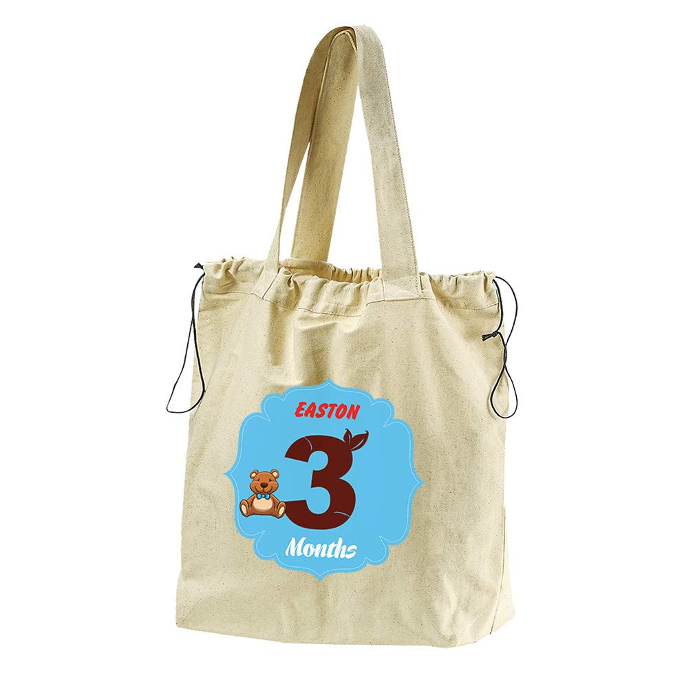 7bd56ac8a4 Amazon.com  Personalized Custom 3 months Teddy Bear Cotton Canvas Drawstring  Beach Tote  Clothing
