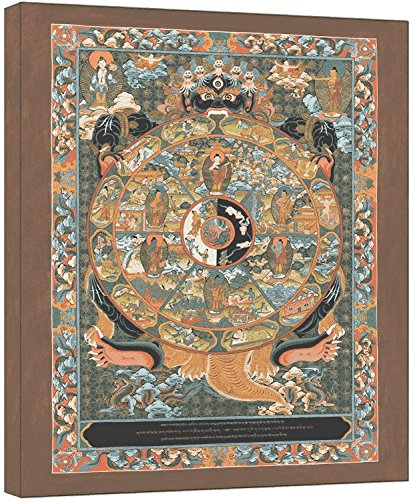 Modern Picture Thangka Das buddhistische Lebensrad Leinwanddruck Reproduktion 40x50 cm
