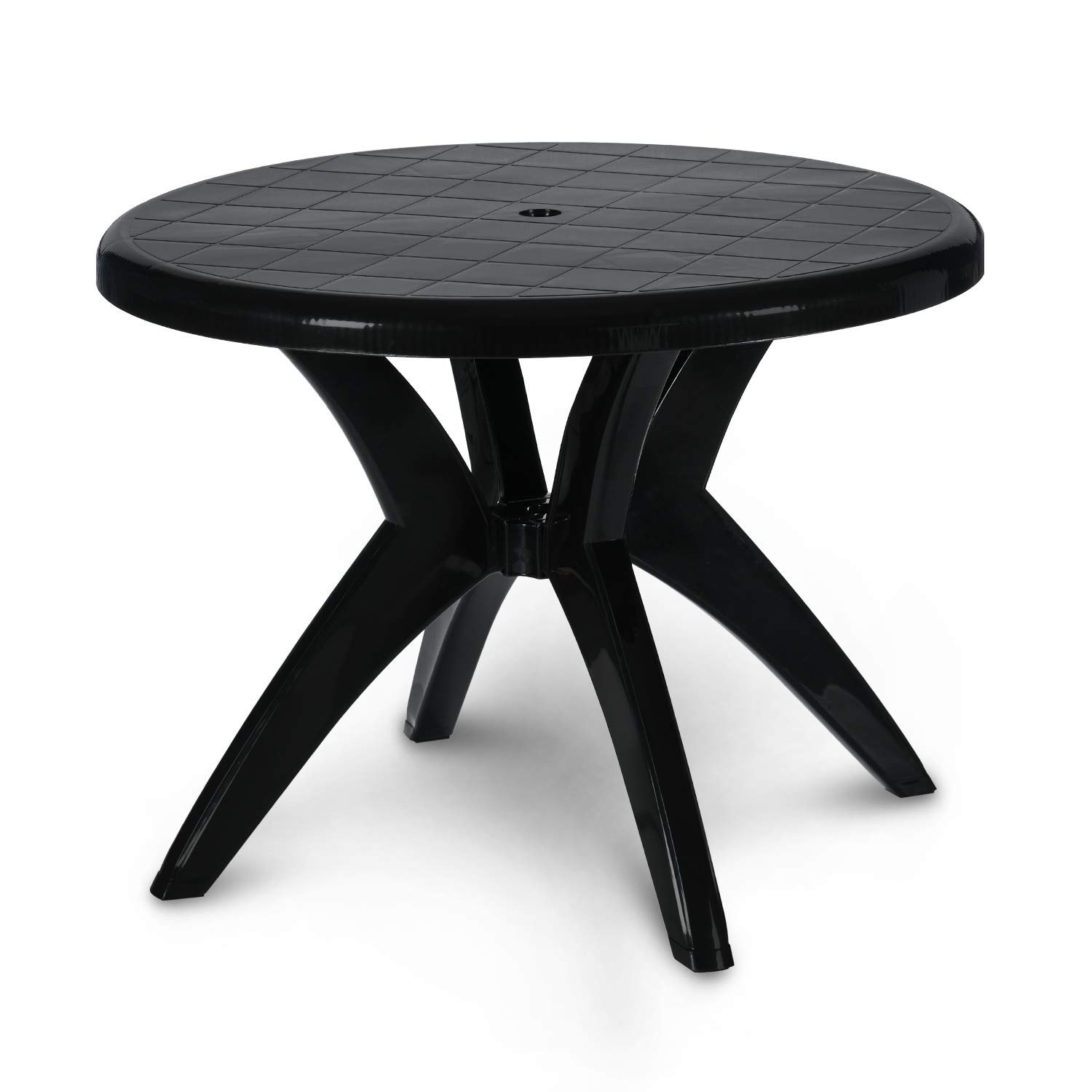 Supreme Marina 4 Seater Plastic Round Dining Table for Home (Black)