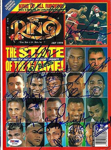 Arturo Gatti Roy Jones Jr. Lennox Lewis Oscar De La Hoya and Floyd Mayweather Jr. Signed Magazine Cover - PSA/DNA Authentication - Boxing Memorabilia