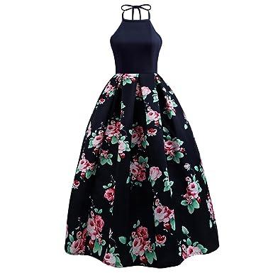 Damen Kleider, BBring Frauen Elegante Rückenfreies Blumen Lange ...