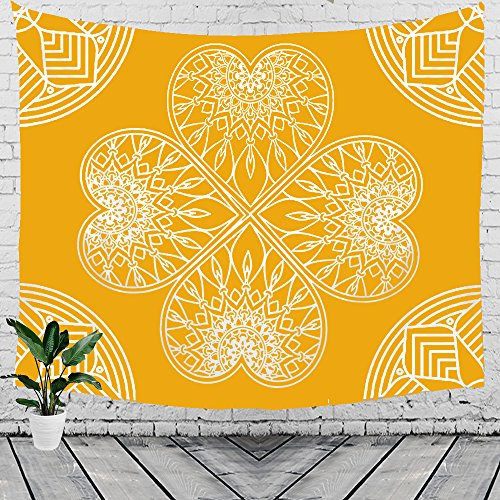 Bohemia Mandala Heart Hippie Indian Ethnic Style Peacock Yellow and White Tapestry Wall Hanging Tapestry Blanket Decorate for Home Bedroom Living Room Table (60x40 inches)