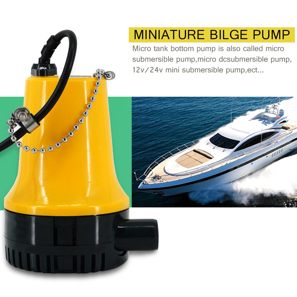 Bilge Pump, 12V/24V Micro DC Immersible Submersible Agricultural Irrigation Portable Electric Water Removal Pump