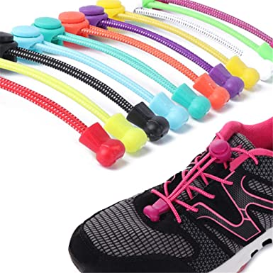 edhua Cordones elásticos para zapatos duraderos sin atar, con sistema elástico para zapatillas y botas, un par White Black Dot normal: Amazon.es: Ropa y accesorios
