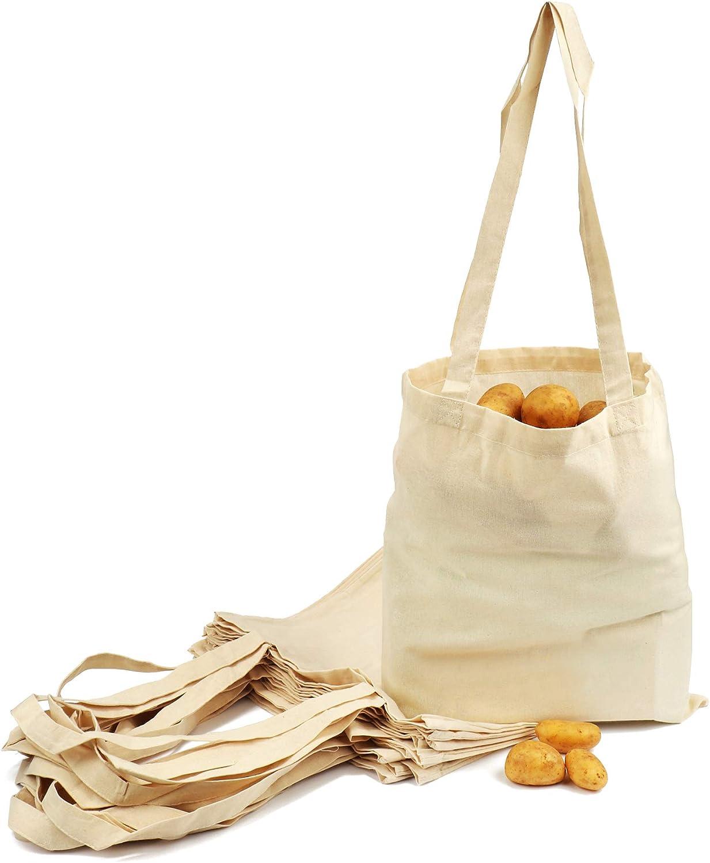 com-four® 12x Bolsa de algodón - Bolsa de Compra Reutilizable - sin impresión, Ideal para Pintar - Oeko-Tex® Standard 100 (12 Piezas - 38x42cm - Mango Largo)