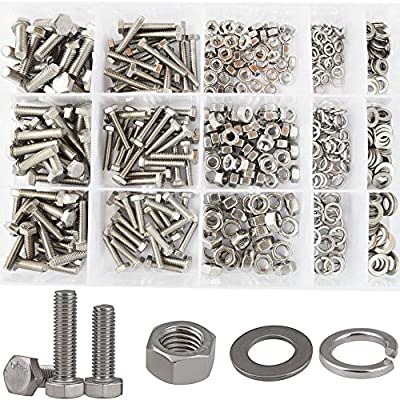 Hex Flat Head Bolts M4 M5 M6 Metric Screws Nuts Flat and Lock Washers Assortment Kit 304 Stainless Steel,510pcs