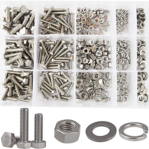 Hex Flat Head Bolts M4 M5 M6 Metric Screws Nuts Hardware Flat and Lock Washers SAE Assortment Kit 304 Stainless Steel,510pcs