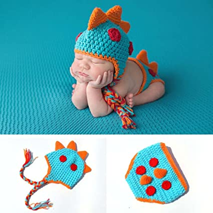 4a9713a97 Amazon.com: Osye Newborn Baby Crochet Knitted Outfit Dinosaur Costume Set Photography  Photo Props, Blue: Arts, Crafts & Sewing