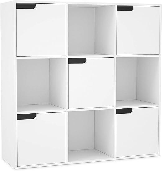HOMFA Librería Estantería de Pared para libros y almacenaje con 9 ...