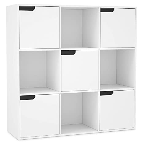buy popular 2fae5 d4c95 Homfa 9 Cubes Storage Unit White Bookcase Wooden Storage Shelf Display  Organiser with Doors 90x29x90cm