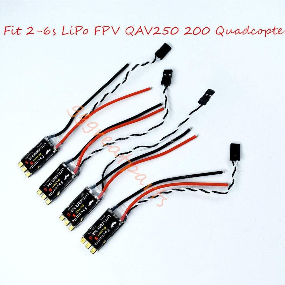 eTekGo 4 pcs 30A Brushless Littlebee Blheli-S ESC for 2-6s LiPo FPV QAV250 200 Quadcopter